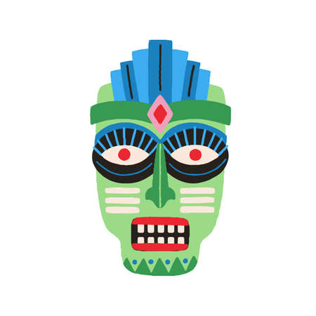 Funny ethnic zulu tribal mask showing teeth in anger. Dreaded ancient ritual symbol or souvenir. Drawn flat vector illustration isolated on white background. Bright clip art element for design Stock Illustratie