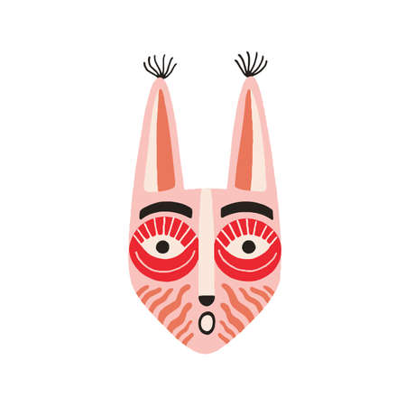 Funny ethnic Indian tribal mask with long ears and open mouth expressing surprise. Pink ancient ritual symbol or souvenir. Flat vector illustration isolated on white background. Clip art element Stock Illustratie