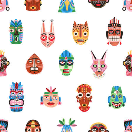 Seamless pattern of funny ethnic tribal masks isolated on white background. Ancient African bright colorful ritual symbols or souvenirs. Endless flat vector illustration