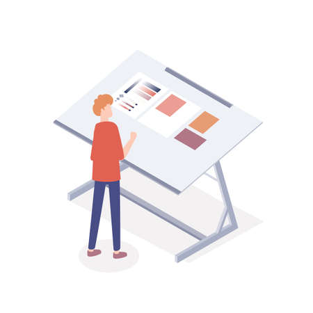 Male typographer working at desk with color palette. Process of offset sample proof at printshop. Man choosing colors in printing house. Vector isometric illustration isolated on white background Vettoriali