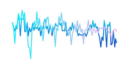 Sound waves isolated on white background. Gradient curves of beats. Musical equalizer, vibration or colored pulse lines. Flat vector illustration of voice or radio record