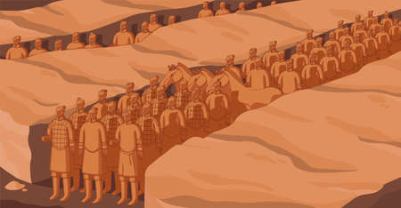 Xian warriors and horses of ancient Chinese terracotta army. Afterlife guard or troops of Asian emperor. World architectural heritage. Monochrome flat vector illustration