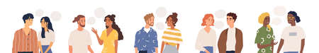 Set of multiethnic people talking or speaking. Collection of chatting couples with speech bubbles. Men and women meeting. Dialogues between characters. Flat vector illustration isolated on white