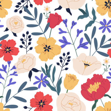 Gorgeous seamless floral pattern with eucalyptus, peony and roses. Repeatable botanical backdrop with elegant flowers for printing and decoration. Flowery design. Colorful flat vector illustration