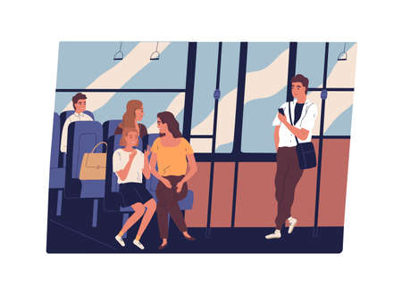 People in public transport. Men and women chatting, listening to music in earphones, looking through window and surfing internet with smartphone inside city bus. Daily life. Flat vector illustration.