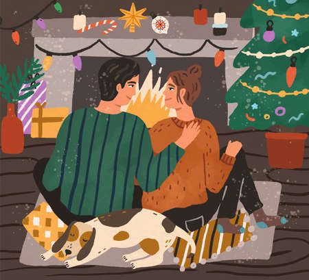 Young couple enjoying Christmas time together by fireplace at home decorated with Xmas tree and other decoration. Happy man and woman with pet in festive evening. Textured flat vector illustration 向量圖像