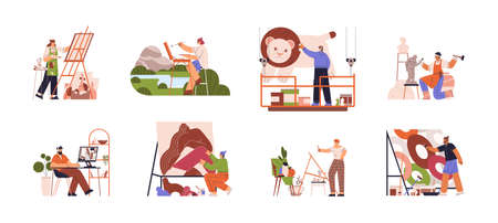Artists or creative people at working process. Plein air, creating murals, computer graphics, collage, sculptures, abstract painting and still life drawing. Fine art hobbies. Flat vector illustration