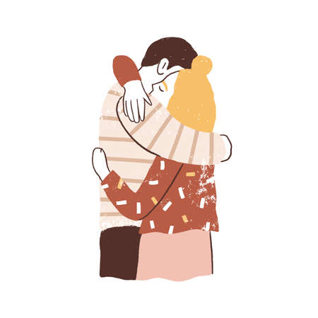 Couple hugging. Man and woman embracing tenderly. Family reunion concept. Two young people support happy relationships. Flat textured vector illustration isolated on white background