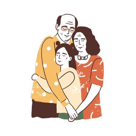 People reunion concept. Aged parents or grandparents embracing their daughter or granddaughter. Supporting happy family relationships. Flat textured vector illustration isolated on white background