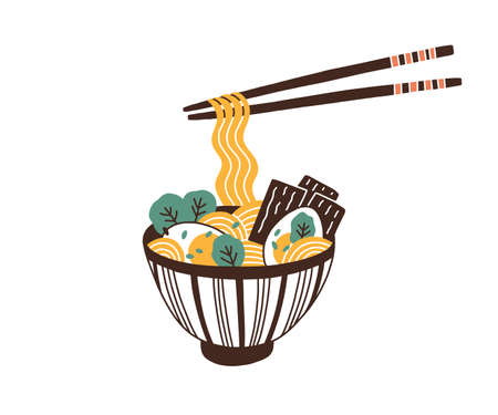 Bowl of traditional asian noodle soup. Ramen with eggs and greens. Noodles hanging on chopsticks. Oriental cuisine. Healthy Japanese fast food. Flat vector illustration isolated on white background