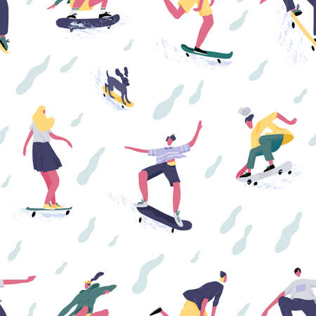 Seamless pattern of teenage mans and womens skateboarders riding skateboards. Skaters and dog skateboarding. Endless background or backdrop for printing. Flat textured vector illustration