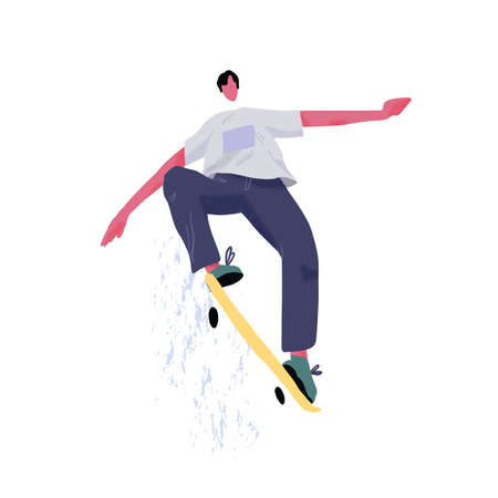Modern skateboarder jumping and showing tricks with skateboard. Young skater with longboard. Extreme sport. Street activity. Flat textured vector illustration isolated on white background