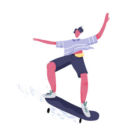 Modern male skateboarder riding skateboard. Young guy performing tricks and jumping on long board. Extreme skateboarding, summer street sport. Flat vector illustration isolated on white background