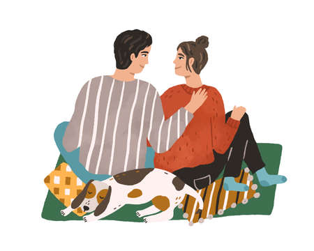 Young couple hugging and sitting on carpet. Happy man and woman spending winter leisure time together with pet at home. Hand drawn flat vector illustration isolated on white background
