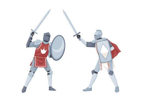 Chivalry tournament. Two medieval knights in armor fighting with swords. Warriors holding shields in war battle. Flat vector illustration with fighters isolated on white background Vektoros illusztráció