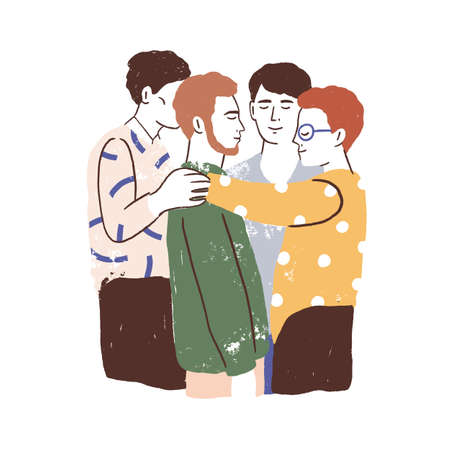Male friends reunion concept. Young men standing together, hugging and embracing. Acceptance, love, support in friendship. Textured flat vector illustration isolated on white background