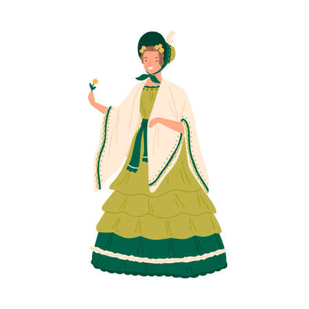 Vintage young woman wearing retro dress and hat decorated with ruffles in 1830s decade style. Female character in elegant baroque clothes. Flat vector cartoon illustration isolated on white Ilustración de vector