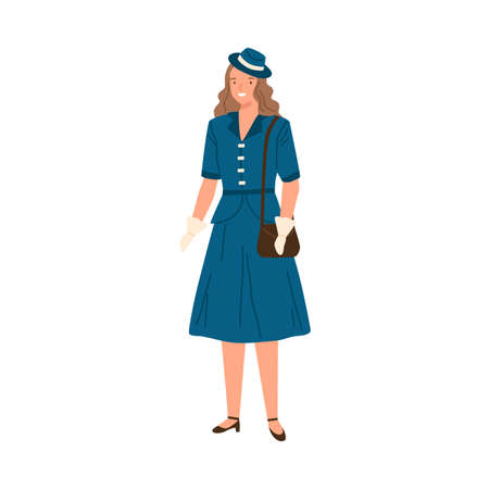 Young woman wearing dress, hat and gloves in 40s style. Fashionable female character with bag in retro stylish apparel. Flat vector cartoon illustration of isolated on white background