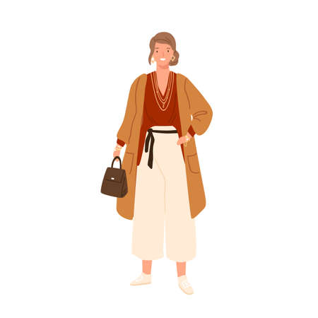 Fashionable young woman wearing trendy outfit and accessories. Female character in modern oversize clothes holding bag. Flat vector cartoon illustration isolated on white background Vektoros illusztráció