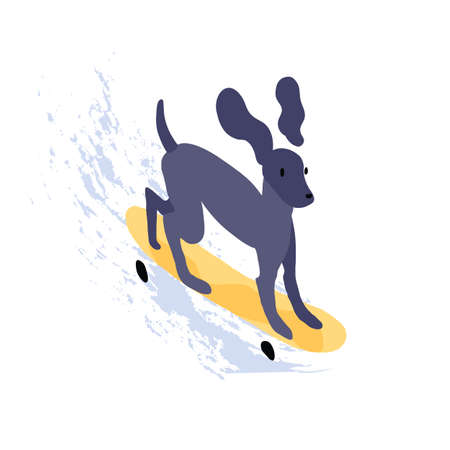 Cute dog riding skateboard. Funny puppy skater on skate board isolated on white background. Animal character for printing on childish t-shirt. Flat textured vector graphic illustration