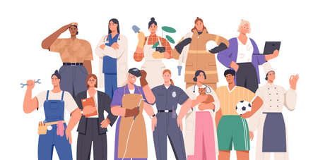 Crowd of smart and strong women of different professions: female soldier, firefighter, police officer, businesswoman. Career equality concept. Flat vector illustration isolated on white