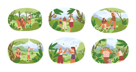 Set of different people exploring nature vector flat illustration. Collection of man and woman explorers contemplate to animals, plants isolated on white. Researchers use binocular and magnifier Vettoriali