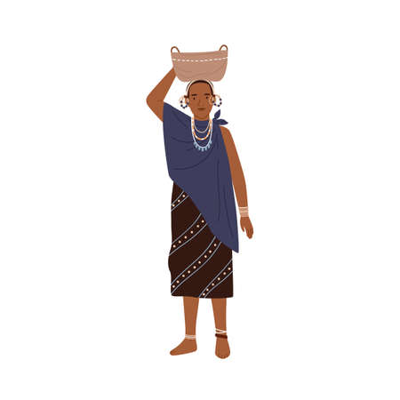 African tribal woman holding basket on head. Young female member of aboriginal tribe standing in ethnic clothes. Colorful flat vector illustration isolated on white background Vektoros illusztráció