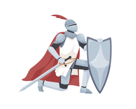 Knight in armor and red cloak holding shield and sword and giving oath on his knee. Medieval warrior kneeling and swearing allegiance. Chivalry isolated on white background. Flat vector illustration