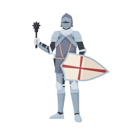 Medieval knight standing in armor holding shield and club weapon. Armored warrior of Middle Ages with mace isolated on white background. Chivalry figure. Flat vector illustration