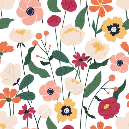 Colorful floral seamless pattern. Endless natural botanical background with blooming meadow flowers for fabric or wallpaper. Flat vector illustration of wildflowers for decorative textile print