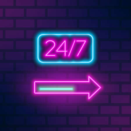 Neon roadside signboard with 24 hours inscription and arrow on brick wall. Fluorescent glowing advertising with 24h signage. Outline vector illustration of electric illuminated symbol