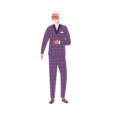 Aged modern man wearing stylish suit. Elderly male character standing in fashionable costume. Flat vector illustration of old bearded businessman in glasses. Trendy confident person isolated on white