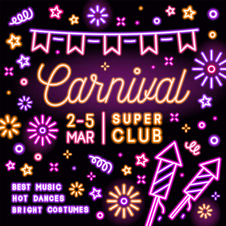 Neon square card invitation for carnival party with glowing text. Celebratory advertising illuminated template for festival or masquerade. Advertisement design for club event. Vector illustration