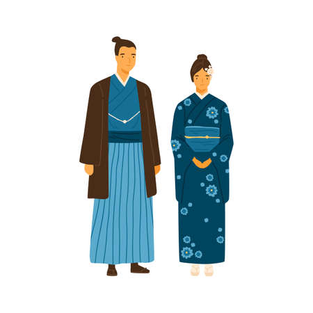 Japanese couple wearing traditional costumes. Man and woman in decorated national clothes yukata and hakama. Young family from japan in folk dress. Flat vector illustration isolated on white