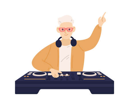 Young trendy disc jockey playing electronic dance music on dj console. Male musician mixing audio records on turntable panel. Flat vector cartoon illustration isolated on white background