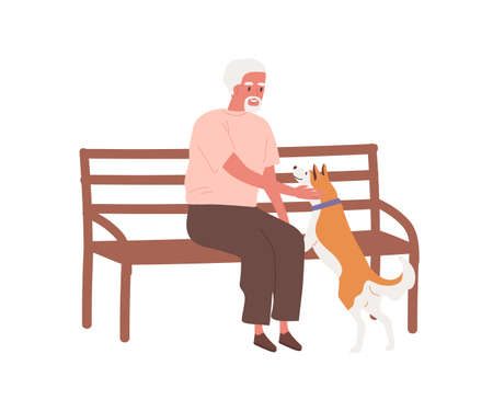 Elderly man sitting on bench outdoors and caress dog. Grandfather play with pet. Aged male character spend time with domestic animal. Flat vector cartoon illustration isolated on white