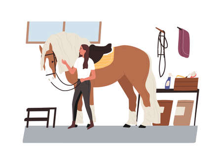 Young horsewoman taking care of domestic animal. Jockey with purebred horse at stable. Equestrienne looking after mare. Woman with pet. Vector illustration in flat cartoon style.