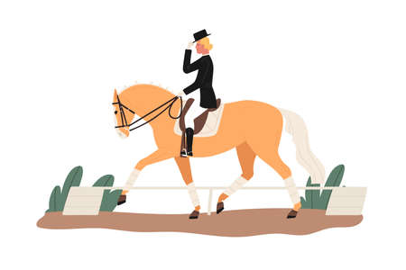 Young horsewoman at racecourse. Professional equestrian competition, dressage performance. Woman riding horse at tourney. Female jockey at racehorse. Flat vector cartoon illustration isolated on white