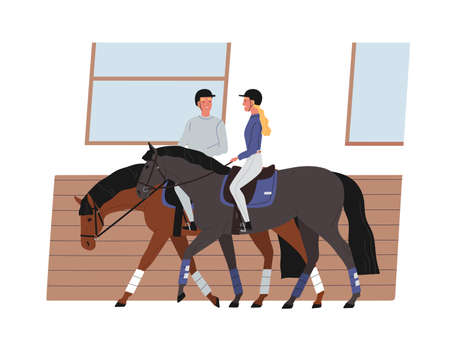 Young couple riding horses. Scene of horseback and active recreation. Cheerful horseman and horsewoman training together. Vector illustration of equestrian and equestrienne in flat cartoon style
