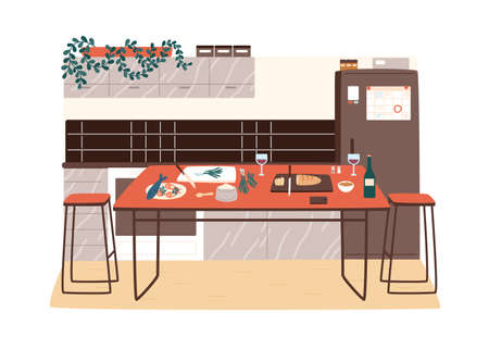 Modern kitchen interior with contemporary table and food ingredients on it. Hygge design of dining room. Dinner preparation at cozy cooking area. Vector illustration in flat cartoon style Ilustración de vector