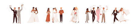 Set of lesbian and gay newlywed couples vector flat illustration. Collection of cute lgbt wedding ceremonies isolated on white. Romantic scenes with happy same sex spouses celebrating marriage