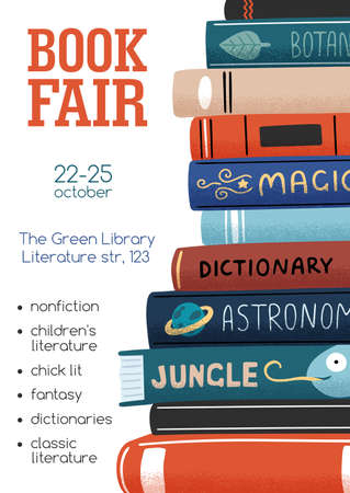 Promo poster for book fair with stack of different academic and entertainment literature vector flat illustration. Vertical advertising template for bookstore or library with a place for text