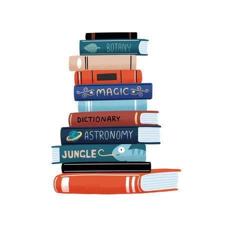 Huge vertical stack of academic and entertainment books with colorful covers vector flat cartoon illustration. Pile of educational and fiction literature isolated on white background