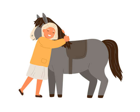 Happy little girl hugging pony vector flat illustration. Cute child and adorable horse enjoying friendship isolated on white. Female kid and animal embracing, spending time together