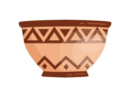Ancient grecian clay bowl. Antique greek handmade vessel vector flat illustration. Traditional pottery vase or amphora decorated by hellenic ornaments isolated on white background