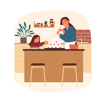 Happy mother and daughter decorate cake with whipped cream and strawberry vector flat illustration. Family cooking delicious dessert together at home kitchen isolated. Parent and kid preparing pastry Vector Illustration