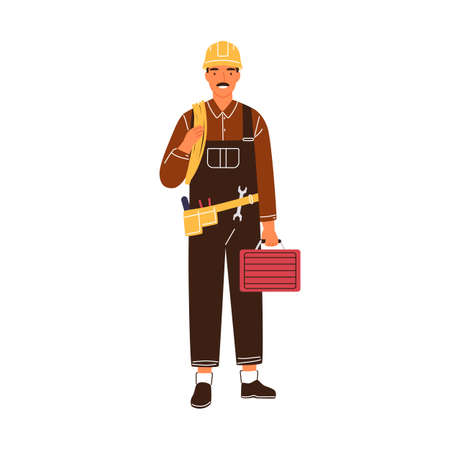Professional male electrician with toolbox and electrical wire vector flat illustration. Industrial worker or repairman in uniform and hard hat isolated. Smiling lineman holding equipment
