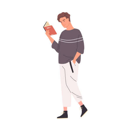 Young man reading book while walking or strolling. Cute male reader or student enjoying literature or preparing for exam on the go. Colorful flat vector illustration isolated on white background