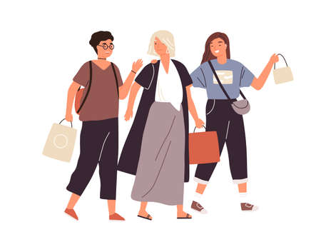 Group of happy female friends shopping vector flat illustration. Smiling woman buyers with packages walking and talking. Girlfriends spending time together isolated on white background  イラスト・ベクター素材