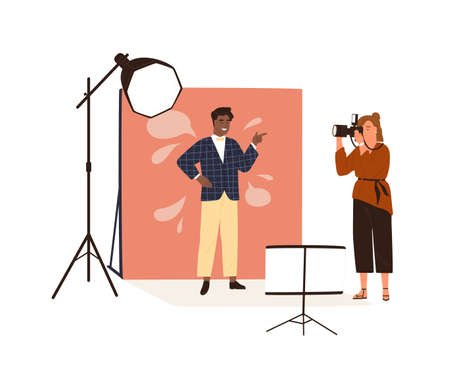 Portrait photography backstage. Female photographer taking photo or shooting African American man posing in studio with professional pulse light. Flat vector illustration isolated on white background